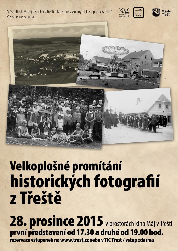 Velkoplošné promítání historických fotografií v kině.