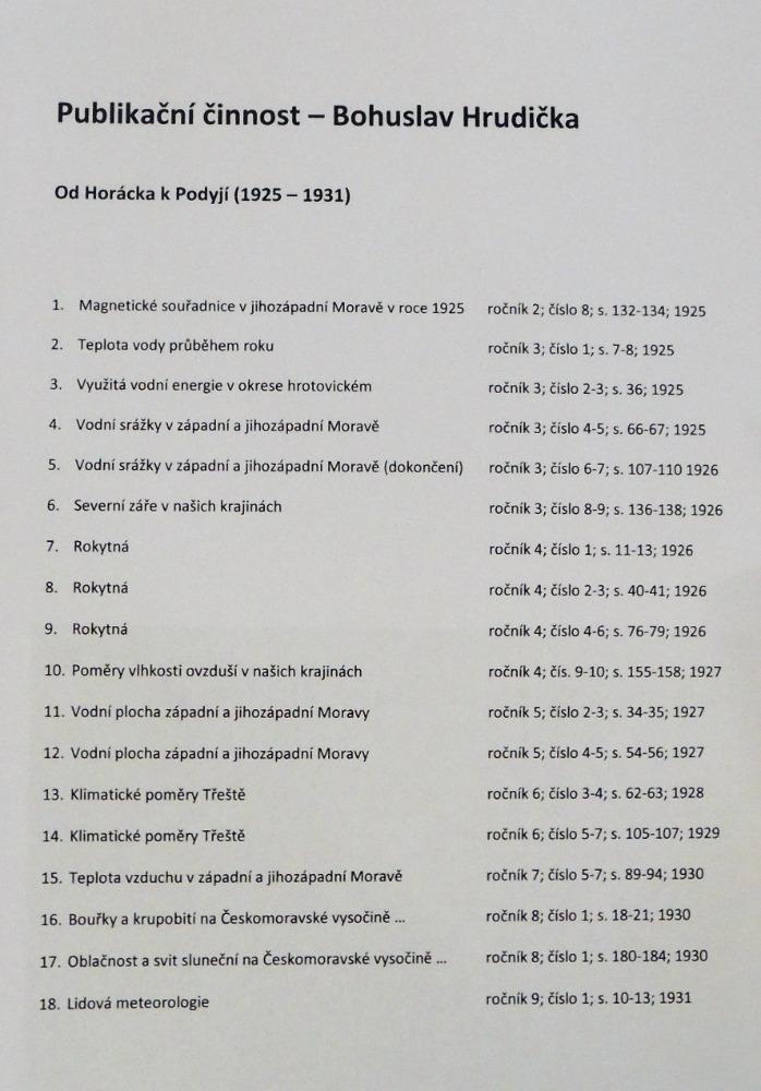 Seznam článků z časopisu Od Horácka k Podyjí